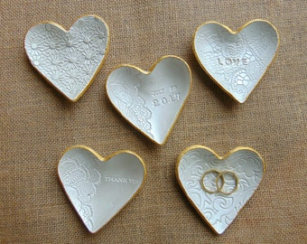 Heart Ring Dish, Wedding shower favors, Wedding Heart Dish Favors, Ring Bearer Dish