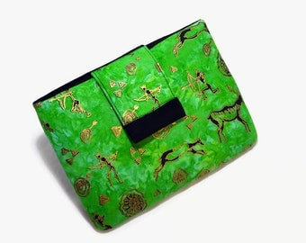 Tablet Case, iPad Mini Cover, African, Tribal, Ethnic, Cave Art, Cave Paintings, Kindle Fire 7, 8, Tablet Sleeve,  Handmade, FOAM Padding