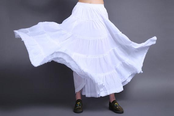 cotton maxi  skirt  circle skirt white skirt  long  skirt beach skirt Belly dance skirt pleated skirt rose skirt