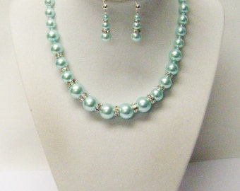 Aqua Glass Pearl w/Rhinestones Choker Necklace/Earrings Set