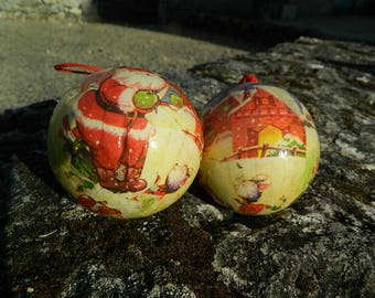 2 Christmas balls of paper, vintage, french