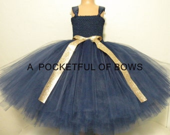 Flower Girl Dress Navy and Gold, Navy and Gold Ball Gown, Navy Toddler Flower Girl