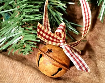 Rustic Primitive Rusty Tin Sleigh Jingle Bell with Star Cutouts on Gingham Plaid Ribbon Christmas Holiday Ornament