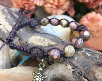 ESSENTIAL OIL BRACELET-Stone bracelet-Jasper-Turtle-Lava stone-Natural-Earth tones-Boho-Yoga