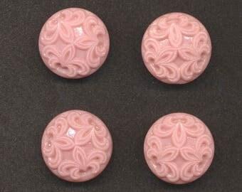 Eight Matching Pink Glass Buttons