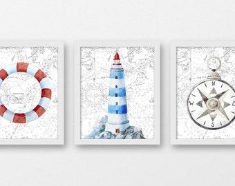 Nautical Nursery Wall Decor, Nautical Home Decor, Bathroom Art Prints, Compass Print, Lighthouse Wall Art, Vintage Home Decor, A-3092