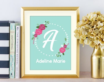 Floral Monogram Girl Nursery Art, Custom Name Nursery Print, Flower Wreath Art Print, Baby Girl Decor, Shower Baby Gift, Mom Gift, A-1274