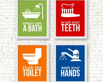 Kids Bathroom Art Prints, Bathroom rules art prints, Bathroom Rules, take a bath, wash your hands, brush flush wash, bathroom rules signs
