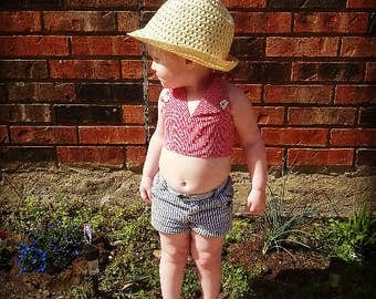 50%Off Vintage Toddlers Red And White Halter Top