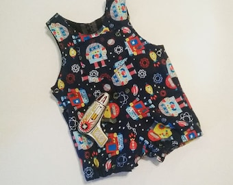 Atomic Space Robot Overalls Rompers Infant Baby Toddler Retro