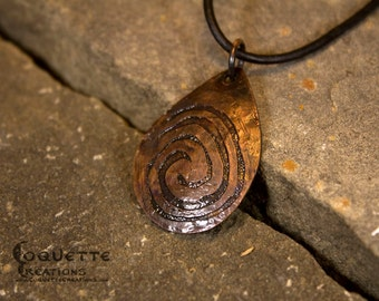 Forged Copper Spiral Necklace Pendant