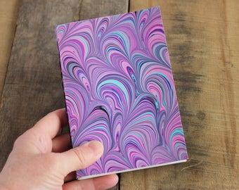 Handmade Blank Book - Notebook, Travel Journal, Art Journal - Hand-Marbled Paperback Cover - Item #8003