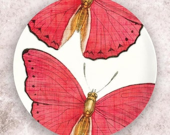 Butterfly, pink butterfly  melamine plate