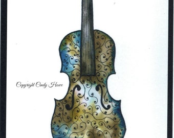 Set of 3 Greeting card, blank inside, watercolor art, fiddle, violin, musical, instruments, acoustic , cards, greeting cards