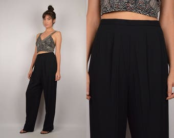 Vintage High Waist Black Trousers