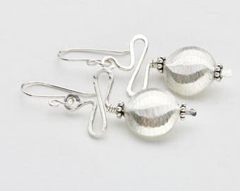 Textured Sterling Silver Squiggle Bead Earrings