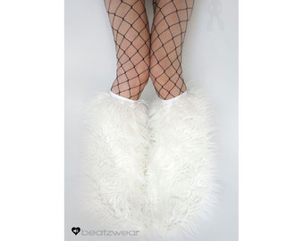 White fluffies - MADE TO ORDER // furry legwarmers // faux fur boots // rave fluffies // furry boots // faux fur // white leggings // rave