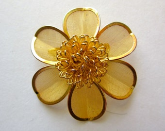 Gold Tone Flower Brooch