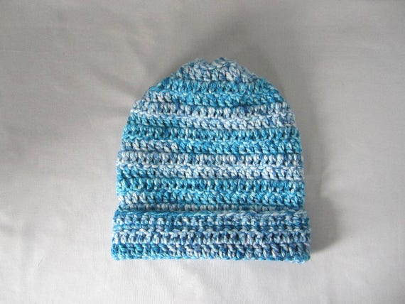 Crochet Teal, Turquoise, Ocean Blue, Royal Blue, and White Slouchy Hat, Beanie Hat, Women's Hat, Men's Hat, Unisex Hat