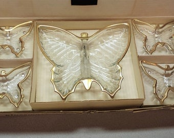 "Vintage Butterfly Dish Set by ""Jeannette"" Company, Pa., 5 Pieces, Orig. Box, Metallic Gold Trim"