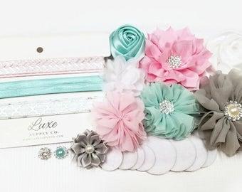 Baby Shower Headband Station - Pink, Aqua, Grey, White DIY Headband Kit - Makes 6 headbands! Luxe Crafting Supplies - SHK1145