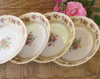 Vintage Gold Castle Hostess China Coupe Soup Bowls Set of 4 Mid Century Made in Japan