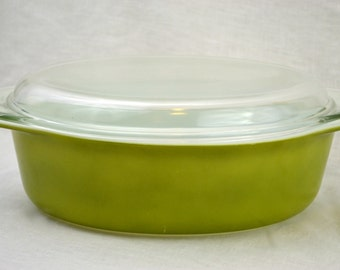Pyrex Large Verde 2.5 Quart Casserole Ovenware Bakeware Dish with Clear Glass Lid