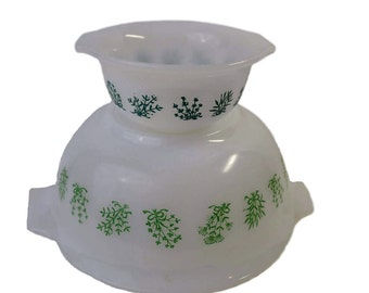 Glasbake Tiered Chip & Dip Turquoise Green Herb Flower Jeannette Glass Company Mixing Bowls J2427