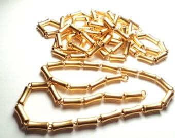 "4 pcs. - 14- 1/2"" Bright brass hollow tube chain sections - co7"