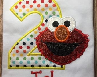 Custom girls Sesame Street elmo birthday shirt