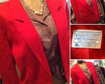 Vintage hipster Pendelton red ladies blazer size 16 free domestic shipping