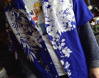 Vintage hipster 80s Hawaiian Shirt in blue size xl free domestic shipping