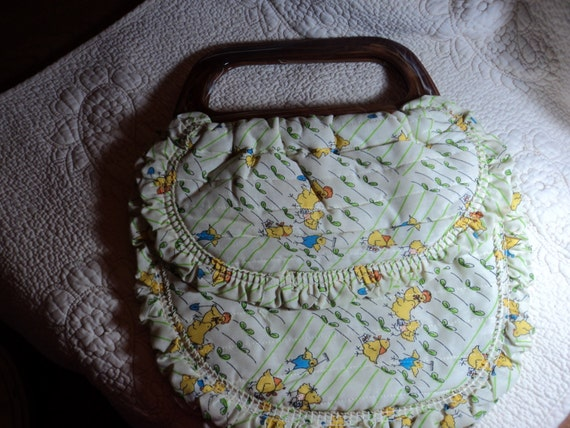 Handmade Knitting Bag Pattern : Plastic handled handmade knitting bag