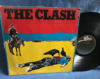 "RARE Vintage, The Clash - ""Give Em Enough Rope"" Vinyl LP Record Album, Original First Press, UK Punk, Joe Strummer, Tommy Gun, Stay Free"
