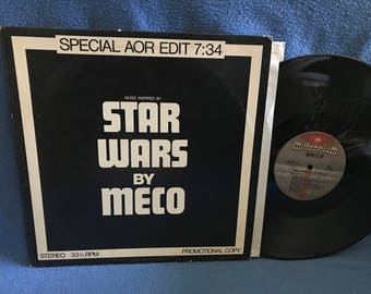 """RARE, Vintage, Meco """"Music Inspired by Star Wars, Galactic Funk"""" Promo Soundtrack, Vinyl LP Record Album, Synthesizer, Electronic, Moog, ARP"""