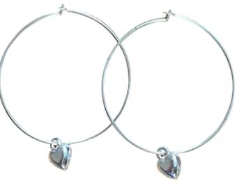 Small HEART Charm HOOP EARRINGS Silver Tone Nickelfree Hoops