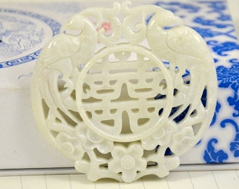 Unique Antique Flower white Jade Pendant Double Phoenix Blessing Happiness Carved Pendant Amulet Talisman for Your Handmade Jewelry