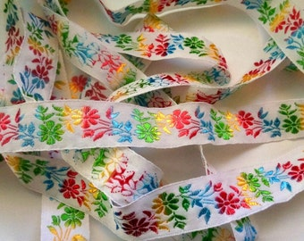 Floral Ribbon, Multi Color , 1 inch wide, 1 yard, For Home Decor, Accessories, Apparel, Victorian & Romantic Crafts
