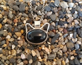Black onyx sterling silver cat charm