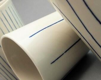 Minimalistic porcelain mug, contemporary ceramics, modern mug, cobald blue ripped mug, coffee mug