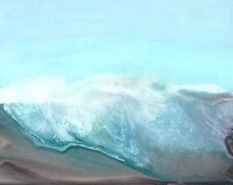 "Ink Painting, ""Wave 8"", print, matted, backed, ready for framing"