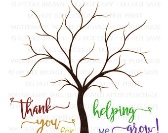 "Teacher Appreciation Fingerprint Tree Rainbow Printable ""Thank you for helping me grow"""