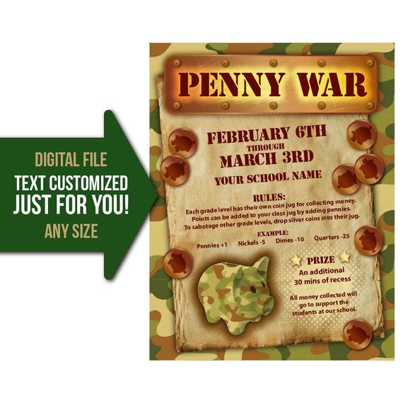 penny war penny wars fundraiser flyer invite school. Black Bedroom Furniture Sets. Home Design Ideas