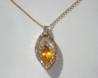 Aurora Borealis and Amber Rhinestone Necklace - Diamante Jewellery - Bridal Costume Jewelry 1950s
