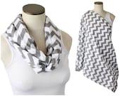 Nursing Scarf Gray Chevron / Hold Me Close Nursing Scarf Poncho/ Breastfeeding Cover / Infinity Nursing Scarf Listing Two