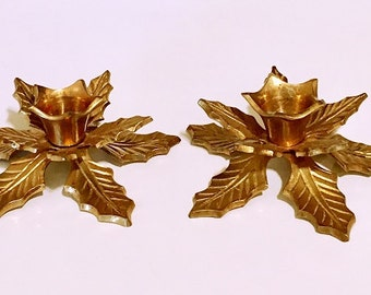 Vintage Solid Brass Candle holders, Christmas poinsettias candlestick holders, decorative candleholders brass, taper candle holders