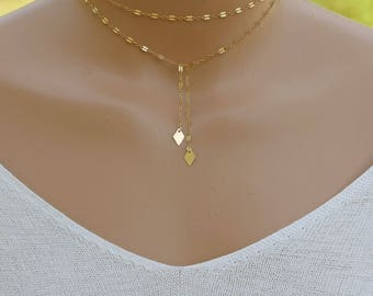 Gold Y Necklace, Long Gold Necklace / Sequin Necklace / Gold Lariat Necklace, Gold Lariat, 14k Gold Filled Necklace, Gift for Her