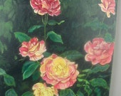"""Vintage Original Naive Oil Painting, Original Oil Painting, Full Blown Roses, Large Size 20 x 16"""", Pink and Yellow Roses, Shabby Cottge"""