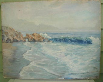 Antique Original Oil Painting,  Naive Oil Painting, Seascape, Waves and Rocks, Very Serene Colors, Signed Painting