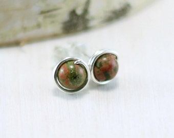 Unakite Earrings, Sterling Silver Natural Stone Stud Earrings Wire Wrapped Pink and Green Gemstone Post Earrings